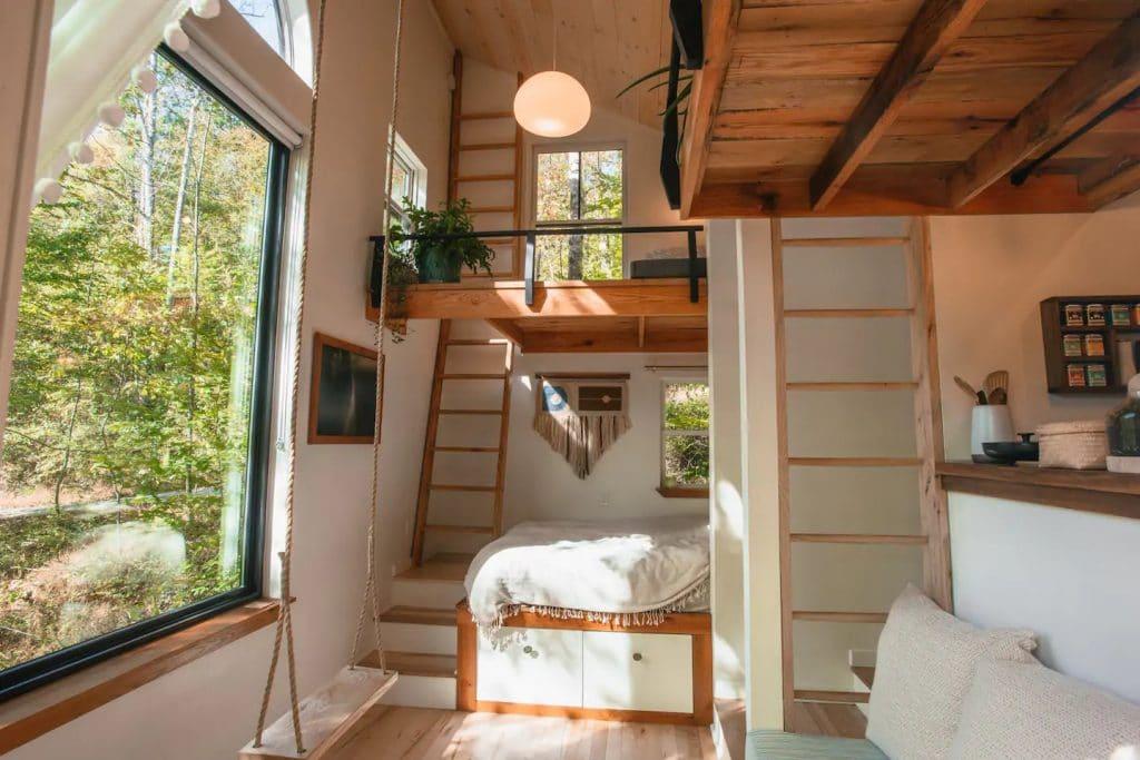 Interior of the nook tiny house sleep area