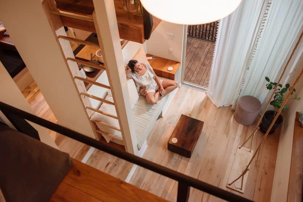 Ladder reaching up to loft