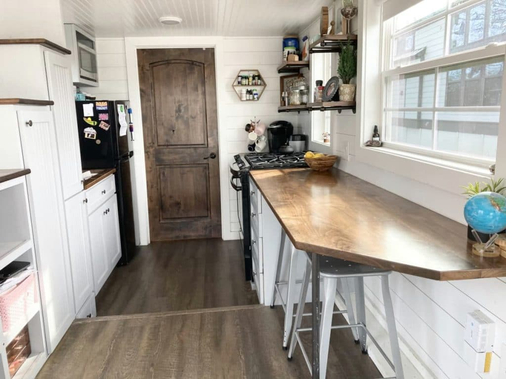 Window table in kitchen of tiny home