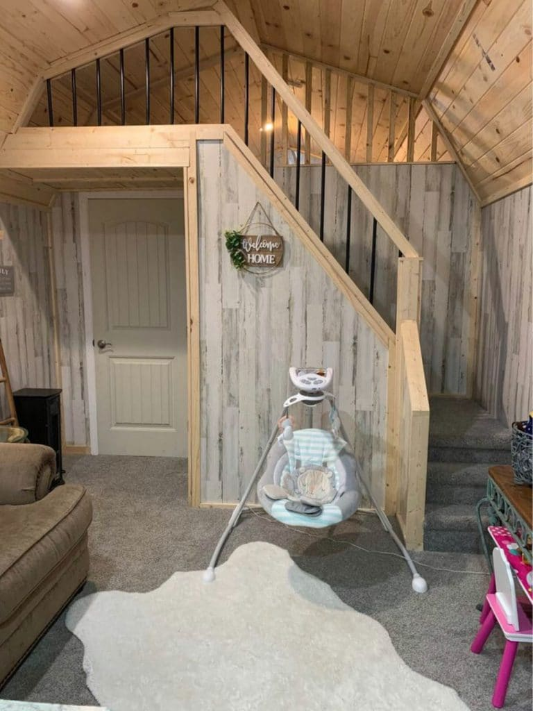 View of stairs leading to loft in tiny home