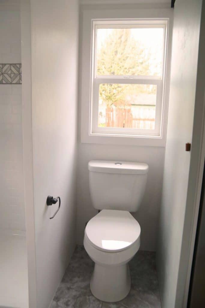 Toilet beneath window