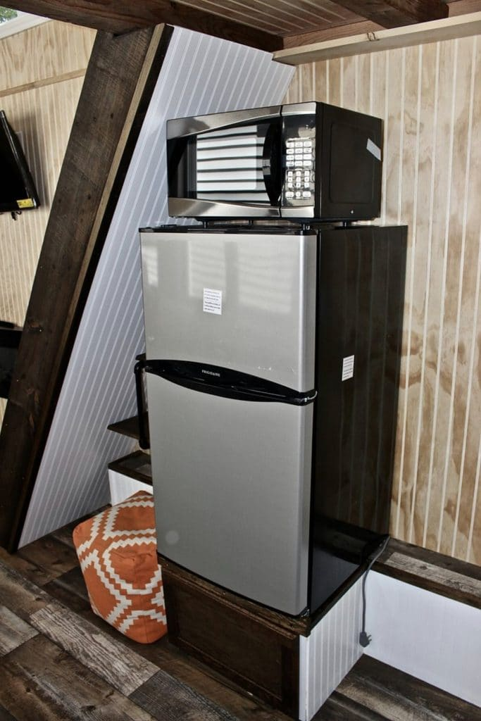 Refrigerator under stairs to loft