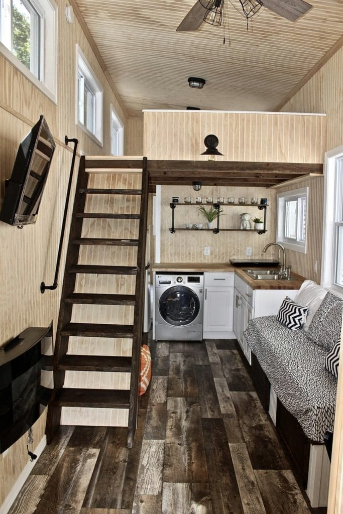 View down center of tiny home