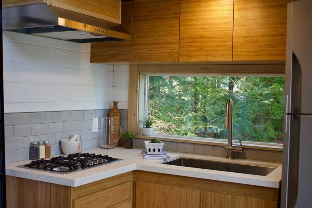 Corner kitchen with brown cabinets