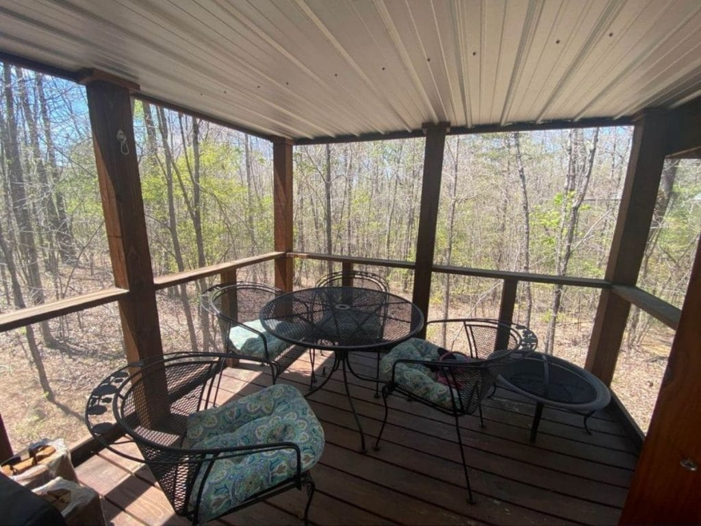Screened porch with wire seating