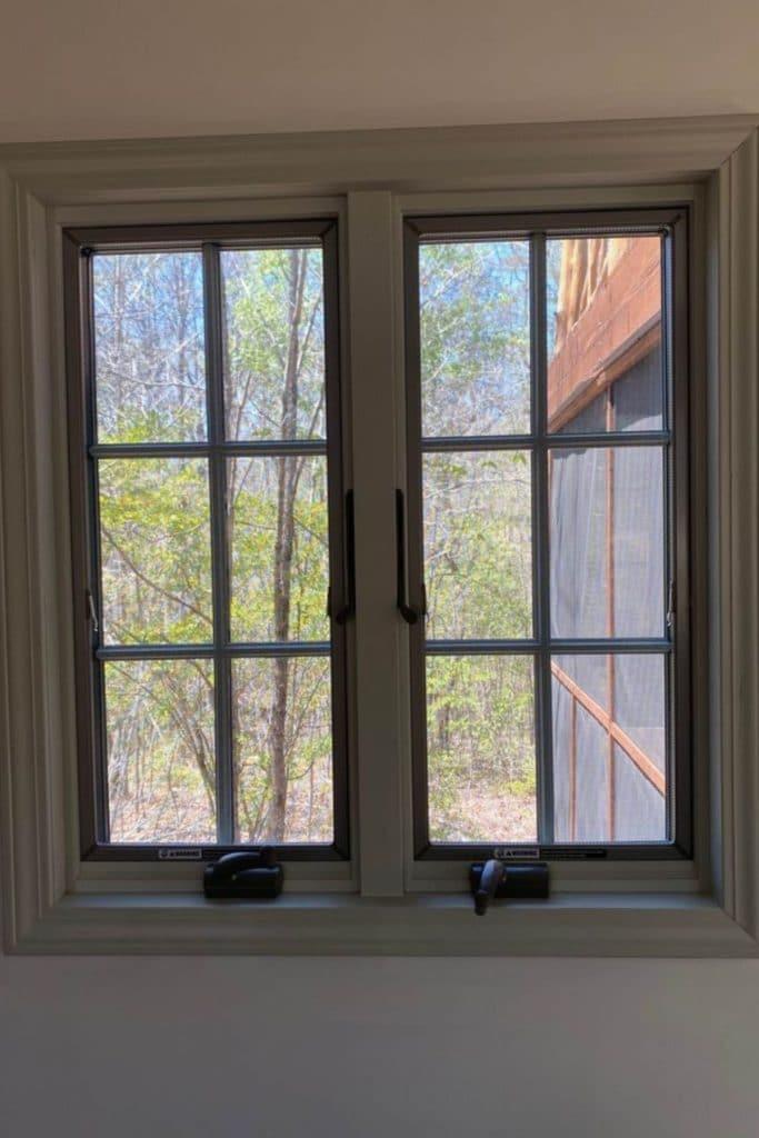 Windows in gray wall