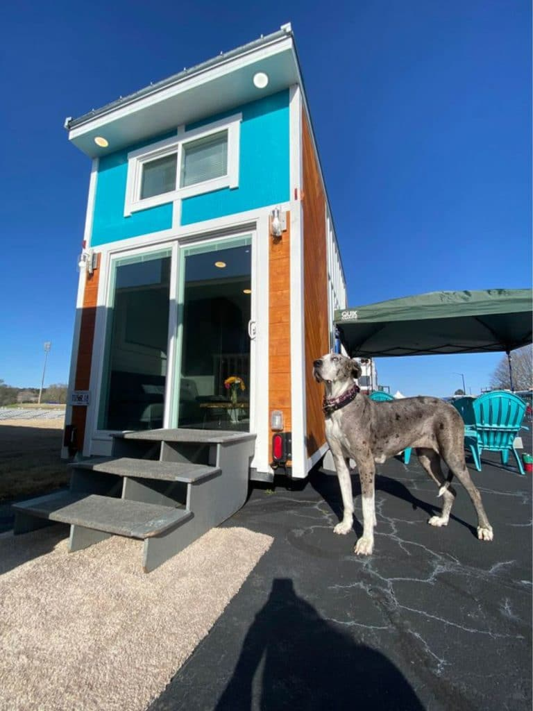 Front of tiny home with glass doors and teal accents