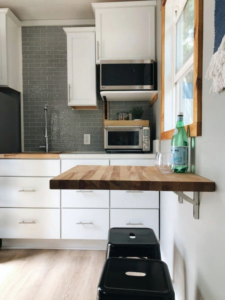 Floating table in kitchen