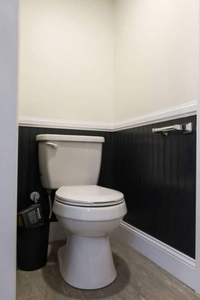 White toilet in corner with blue wainstcotting and white walls