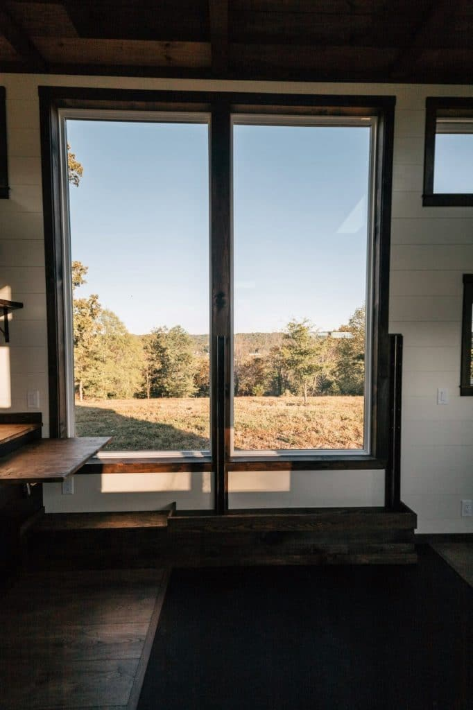 Large sliding doors with woodsy view