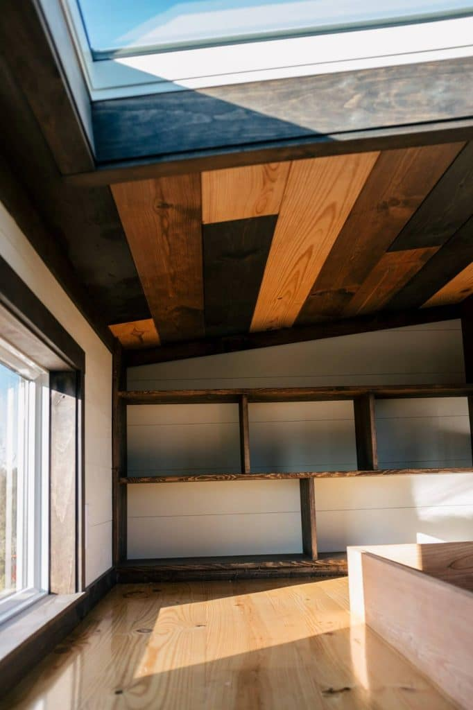 Reclaimed wood ceiling in loft