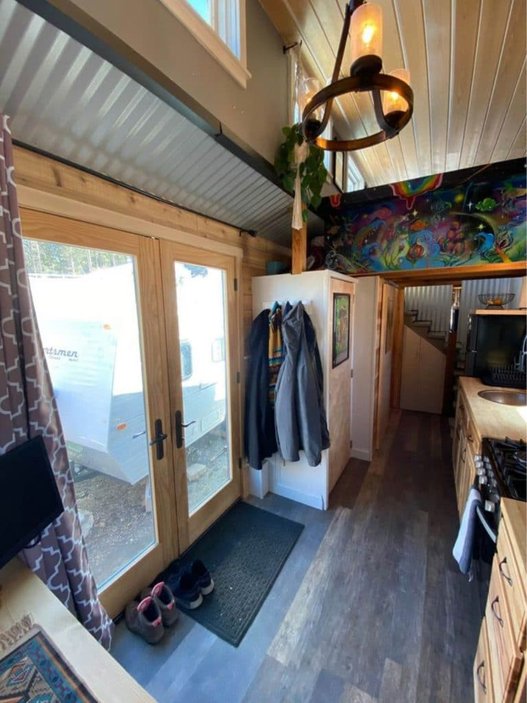 French doors with pella glass covers in tiny home