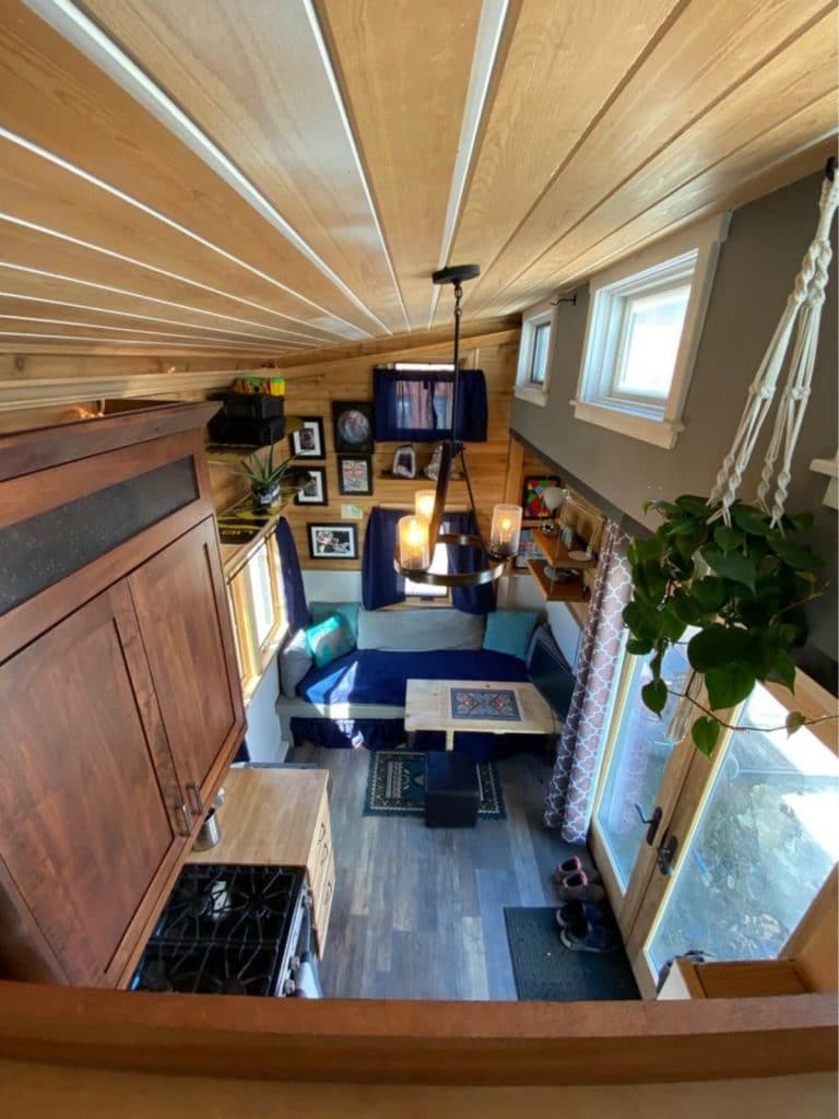 View from tiny home loft looking down into living space