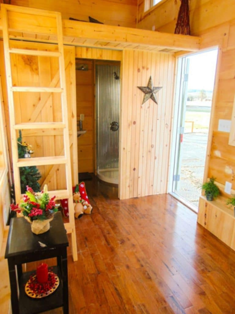 Star on door into bathroom of tiny home