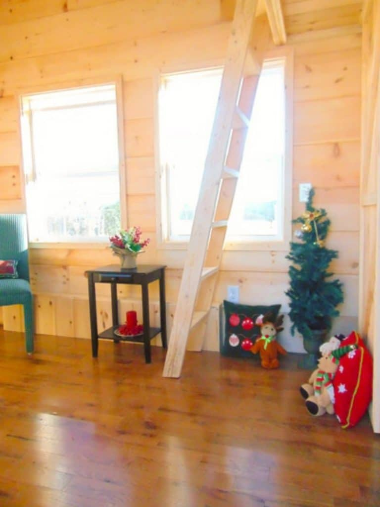 Ladder to loft next to holiday decor