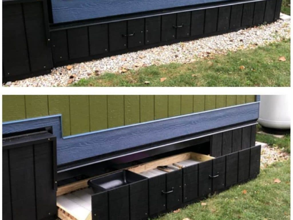 Exterior drawers at bottom of tiny house
