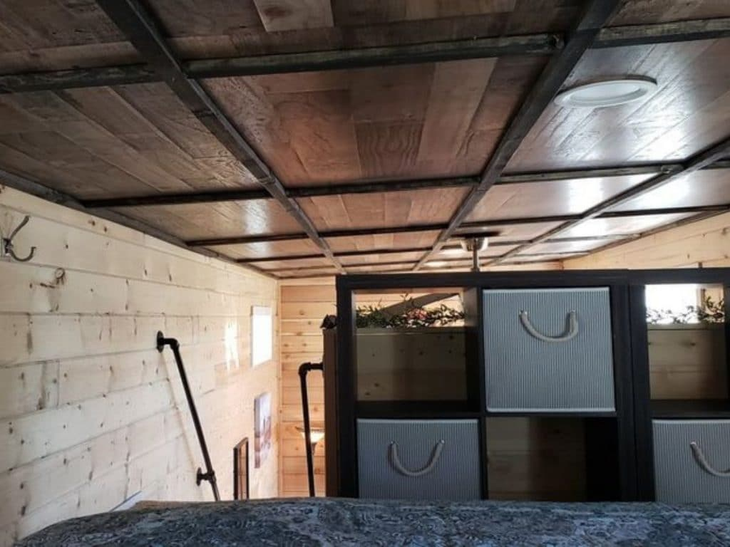View of storage cubbies in loft space