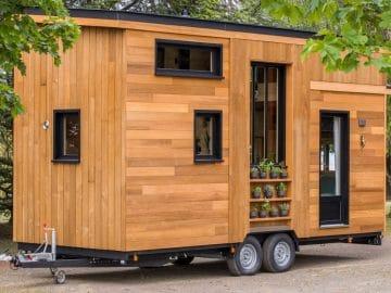 Wood siding and dark trim on tiny home next to tree
