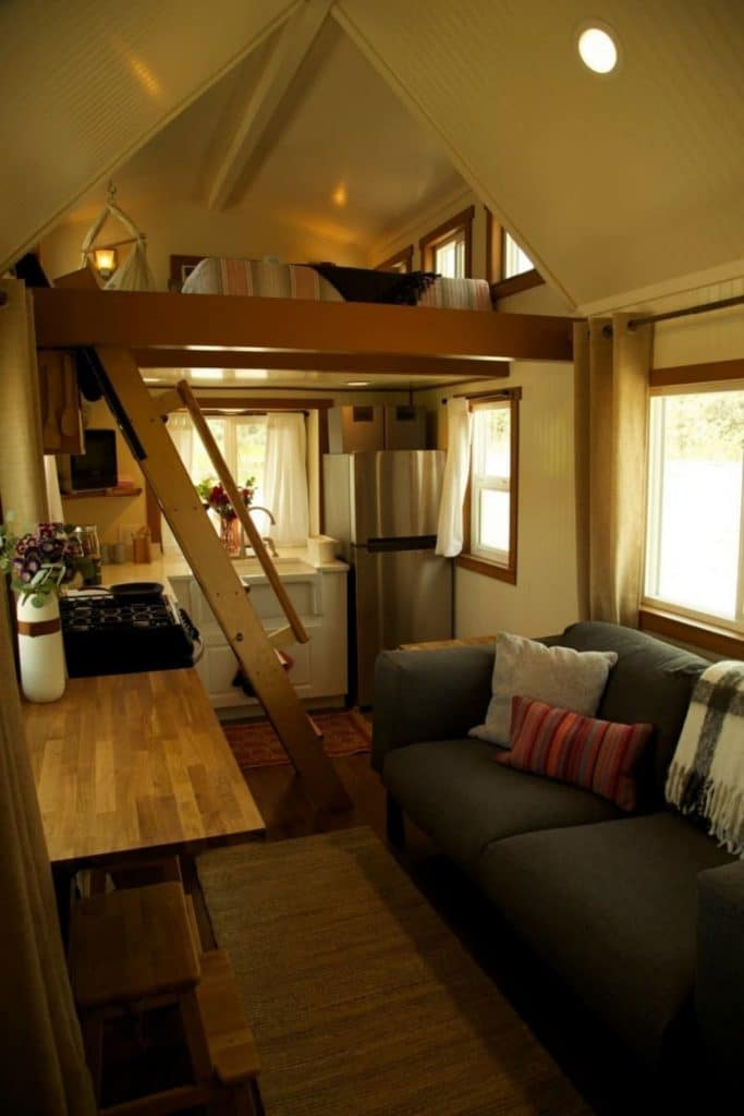 View into kitchen of tiny home
