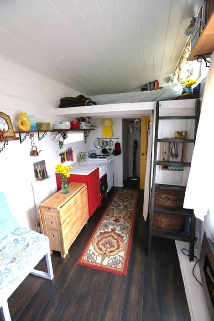 View from front door into tiny home with white walls