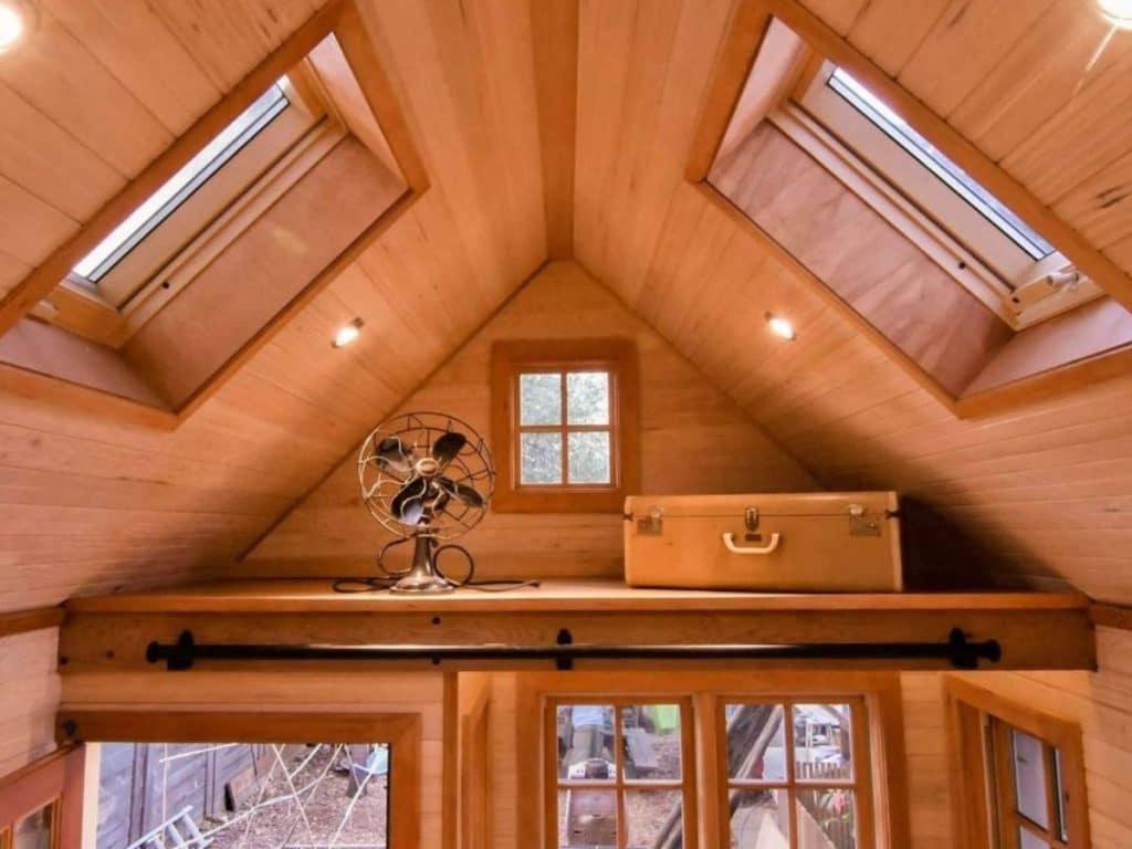 Loft above front door with sky lights above