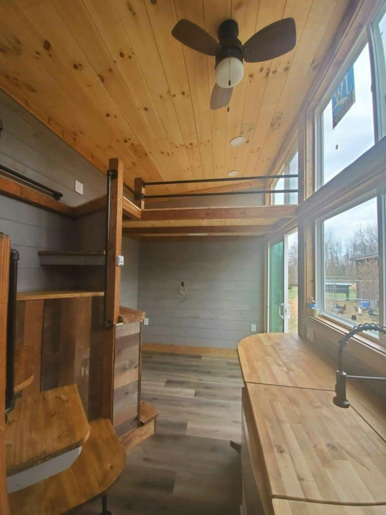 View of tiny house with wooden ceiling and floors