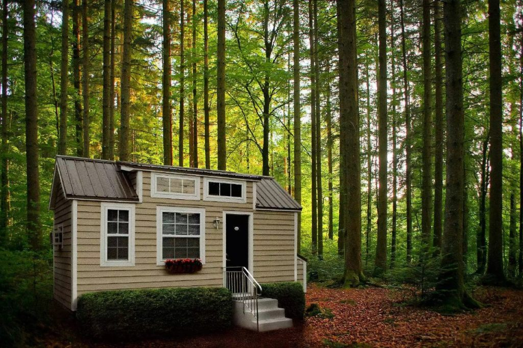 Tiny home on wheels in forest area with mulch around door