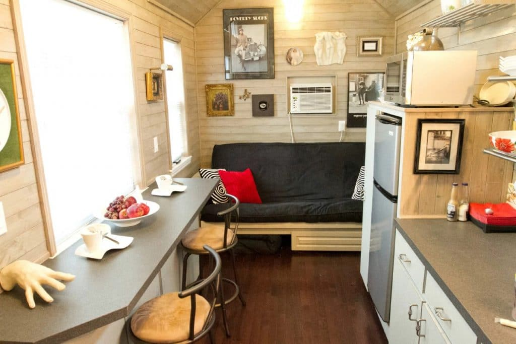 View from door into tiny home showing pull out couch at end