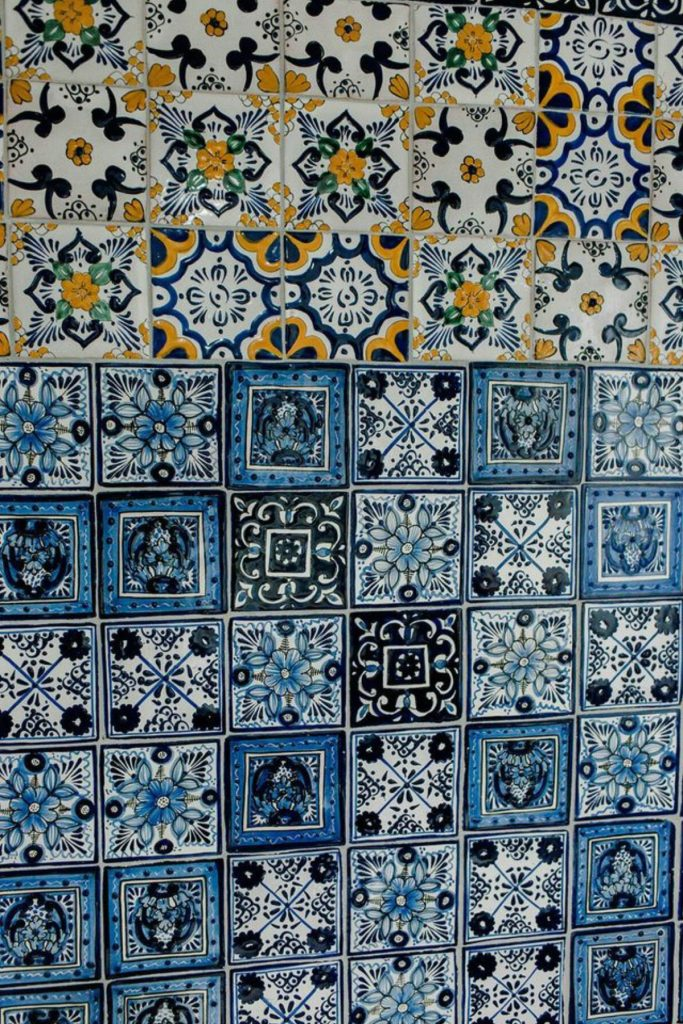 Colorful blue and yellow tile wall
