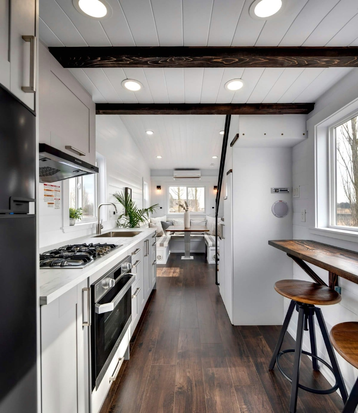 View from kitchen into living area of tiny home