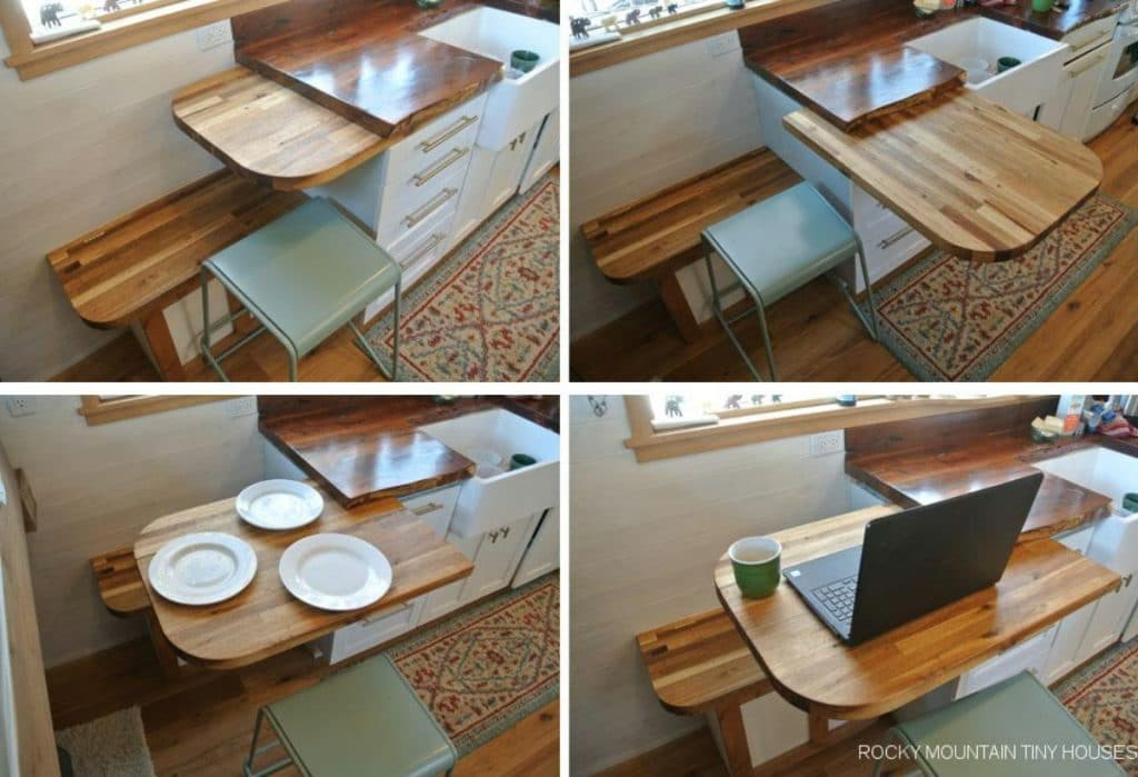 Collage of slide out table in tiny house