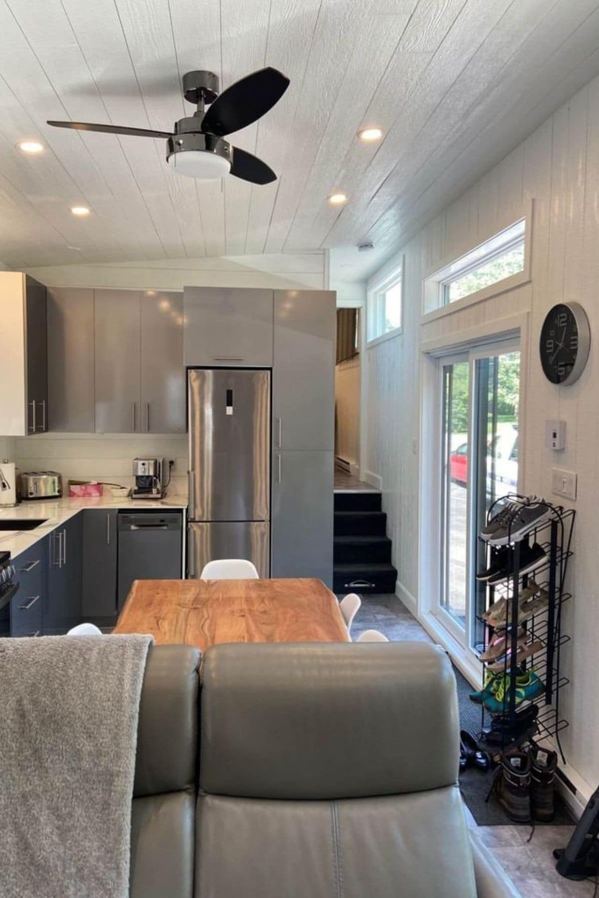 View into kitchen from tiny living room