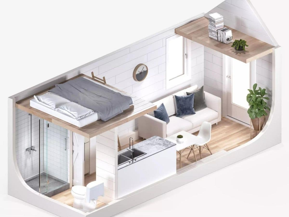 Digital rendering of interior of tiny home