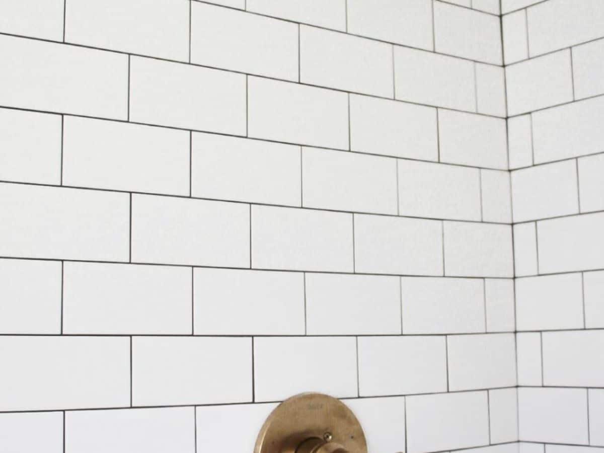 White subway tile in bathroom shower