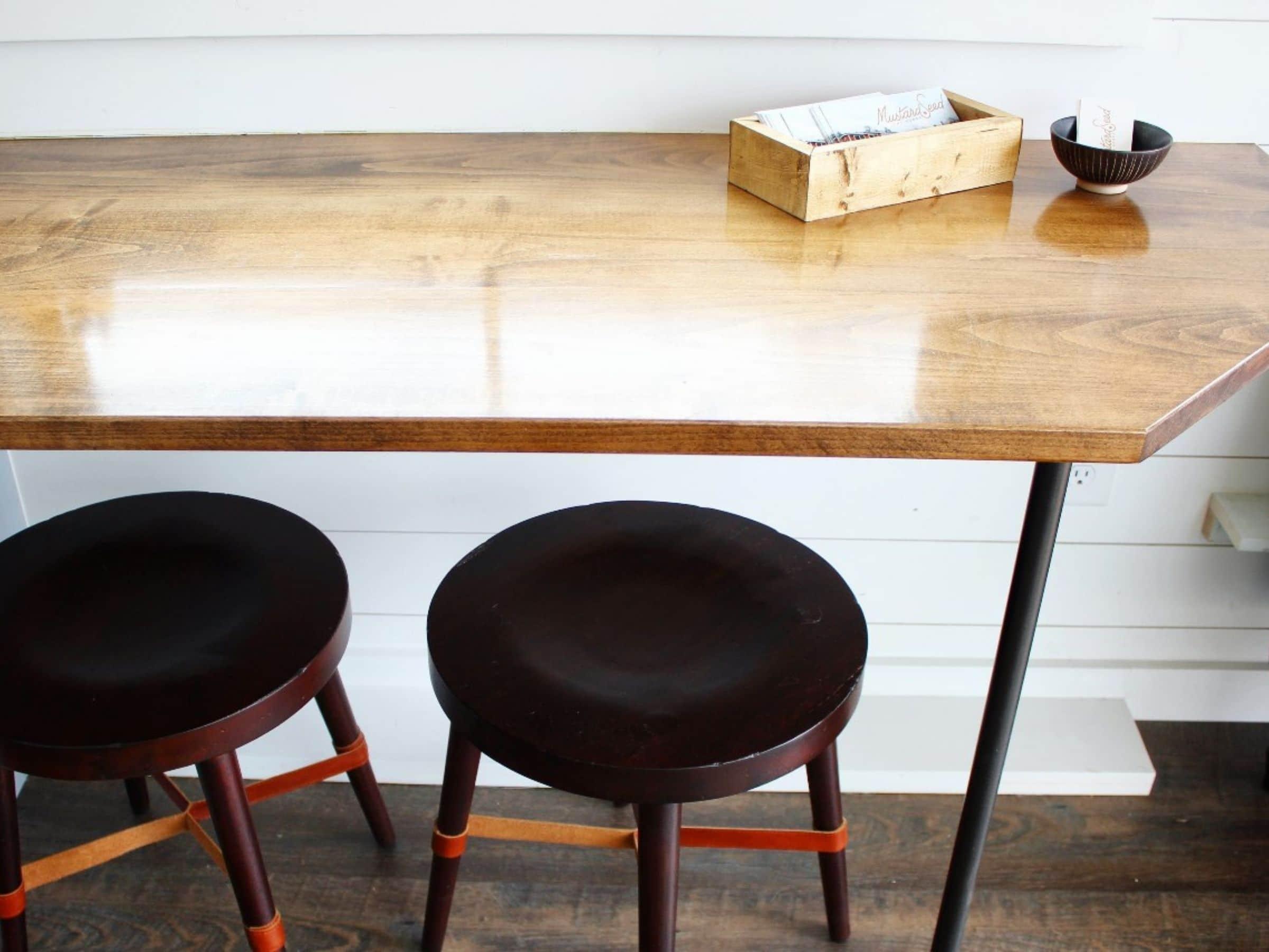 Window table with stools beneath