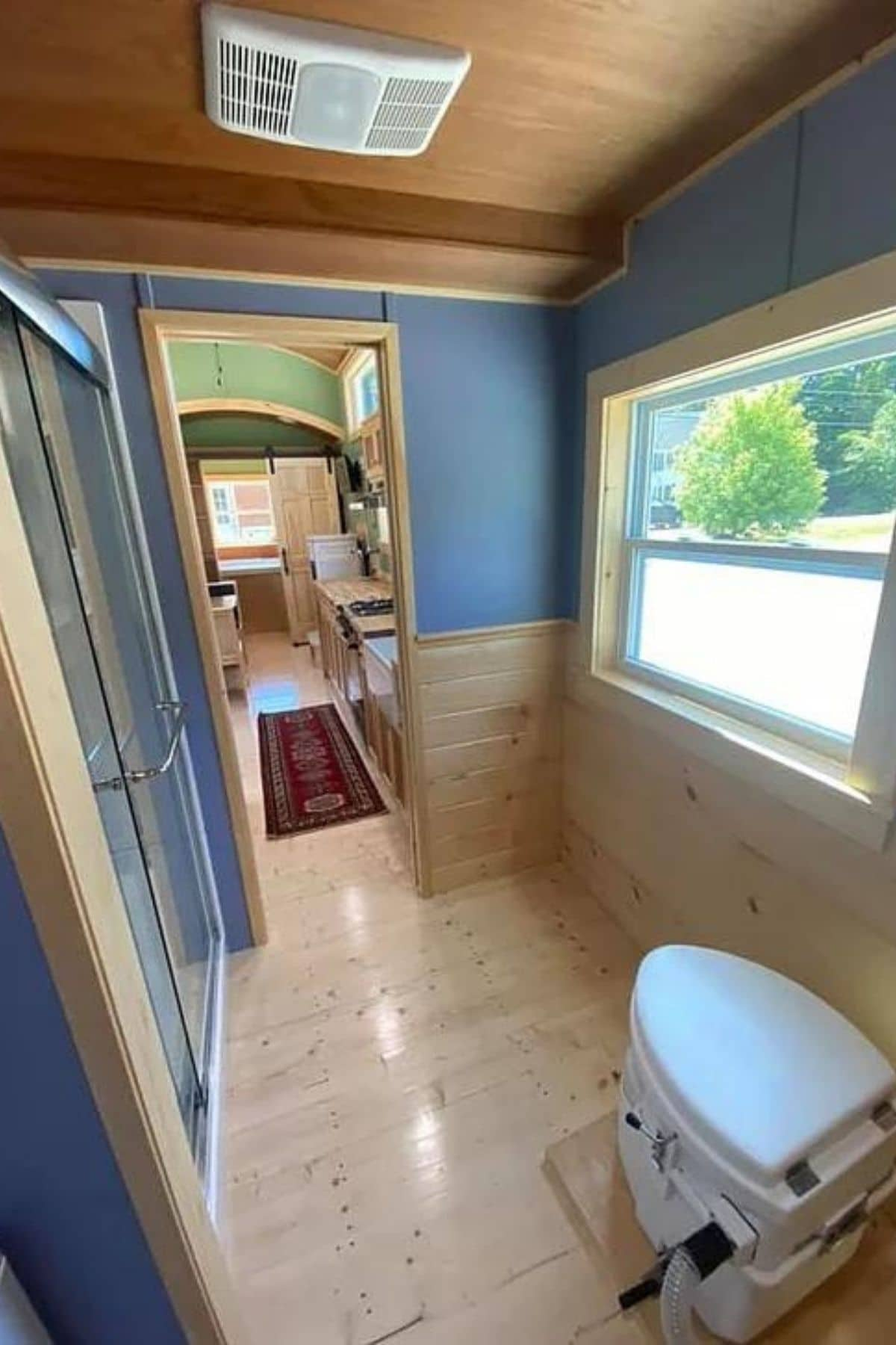 View out the bathroom door toward the living space