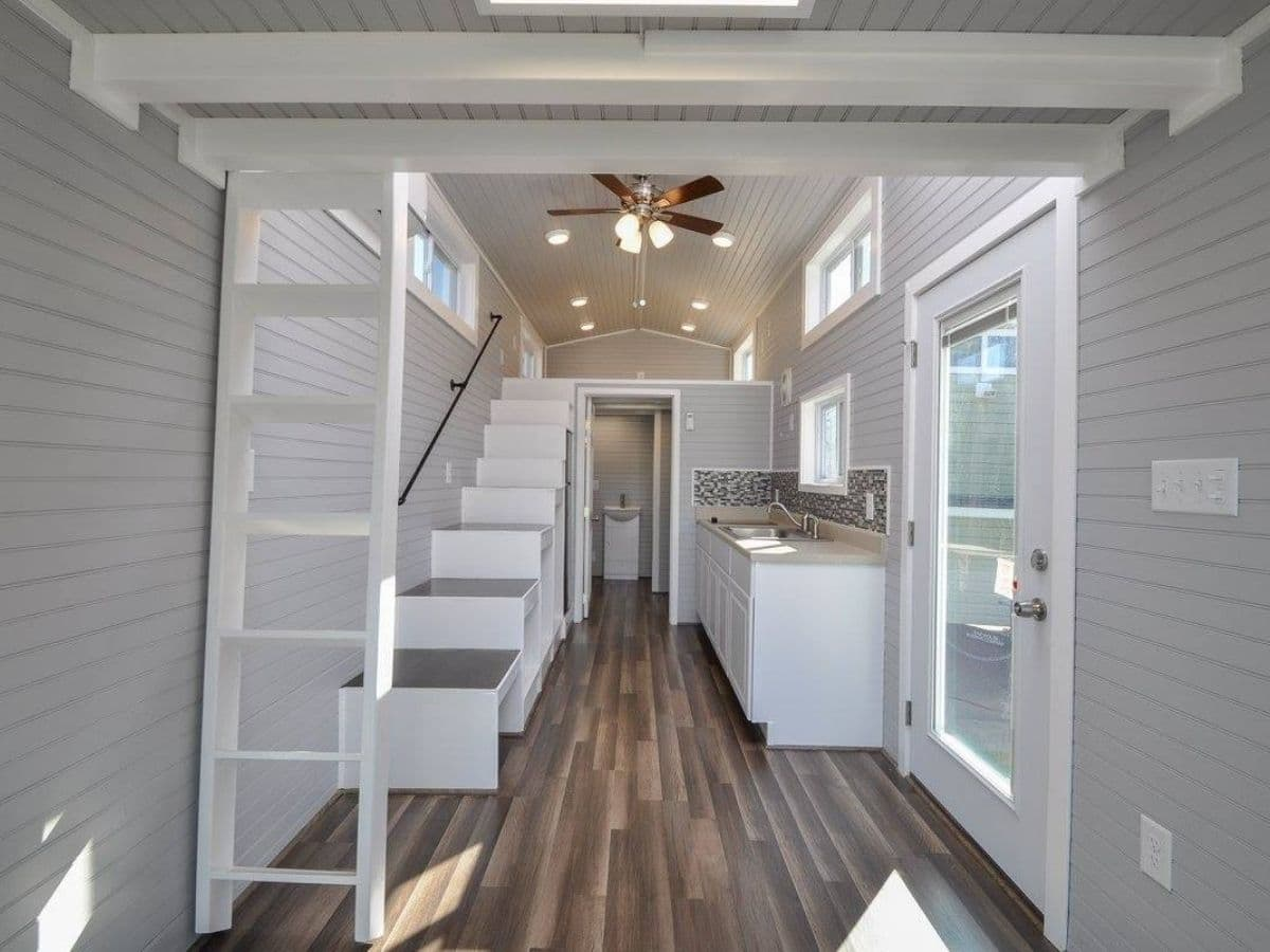 Light gray interior with white accents in tiny home