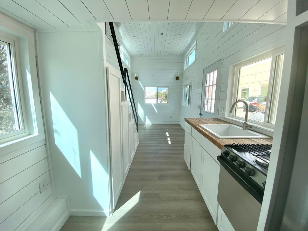 View from kitchen into main living area of tiny home