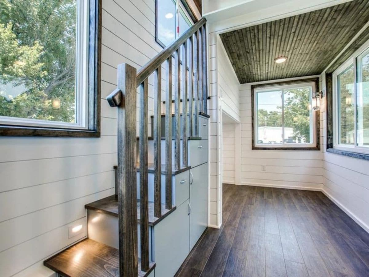 Stairs to loft with traditional rail on side