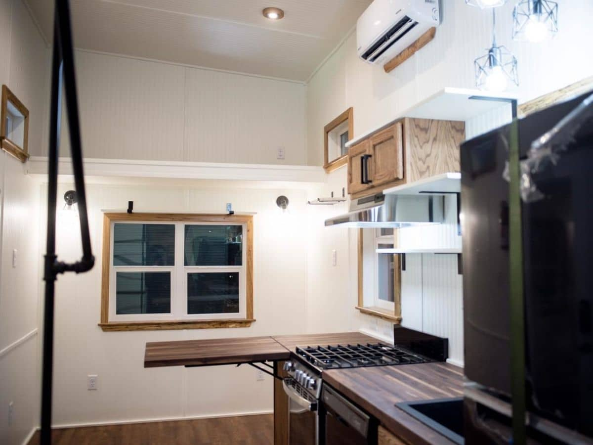 view from kitchen to living space in tiny home
