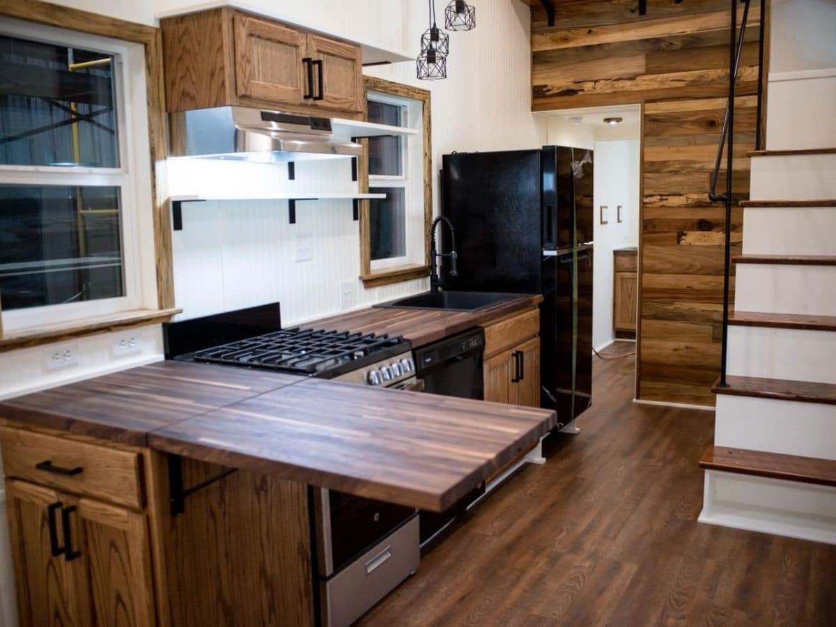 Kitchen counter extended with wood top