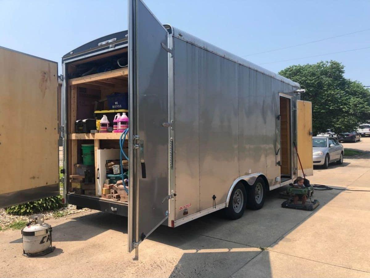Back storage doors open on cargo trialer