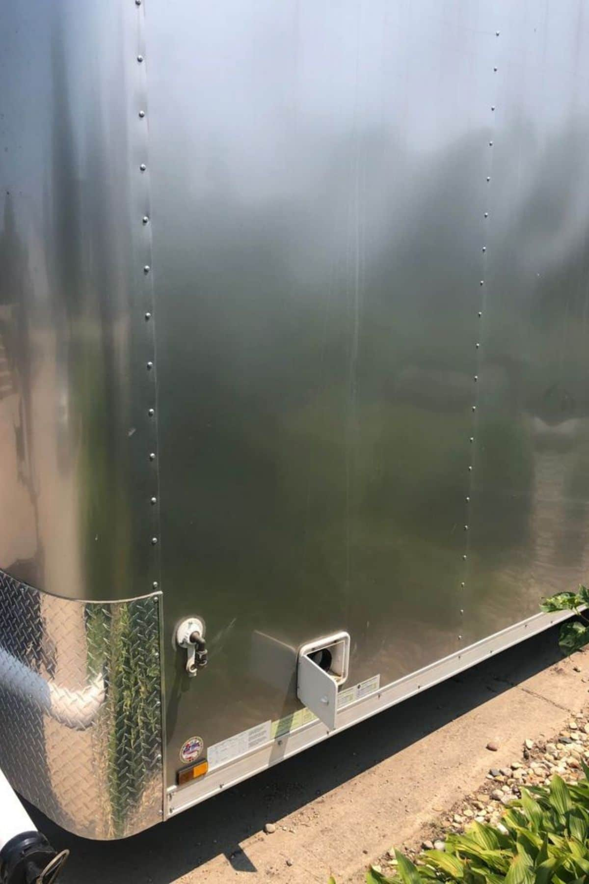 Water hookup on outside of metal cargo trailer