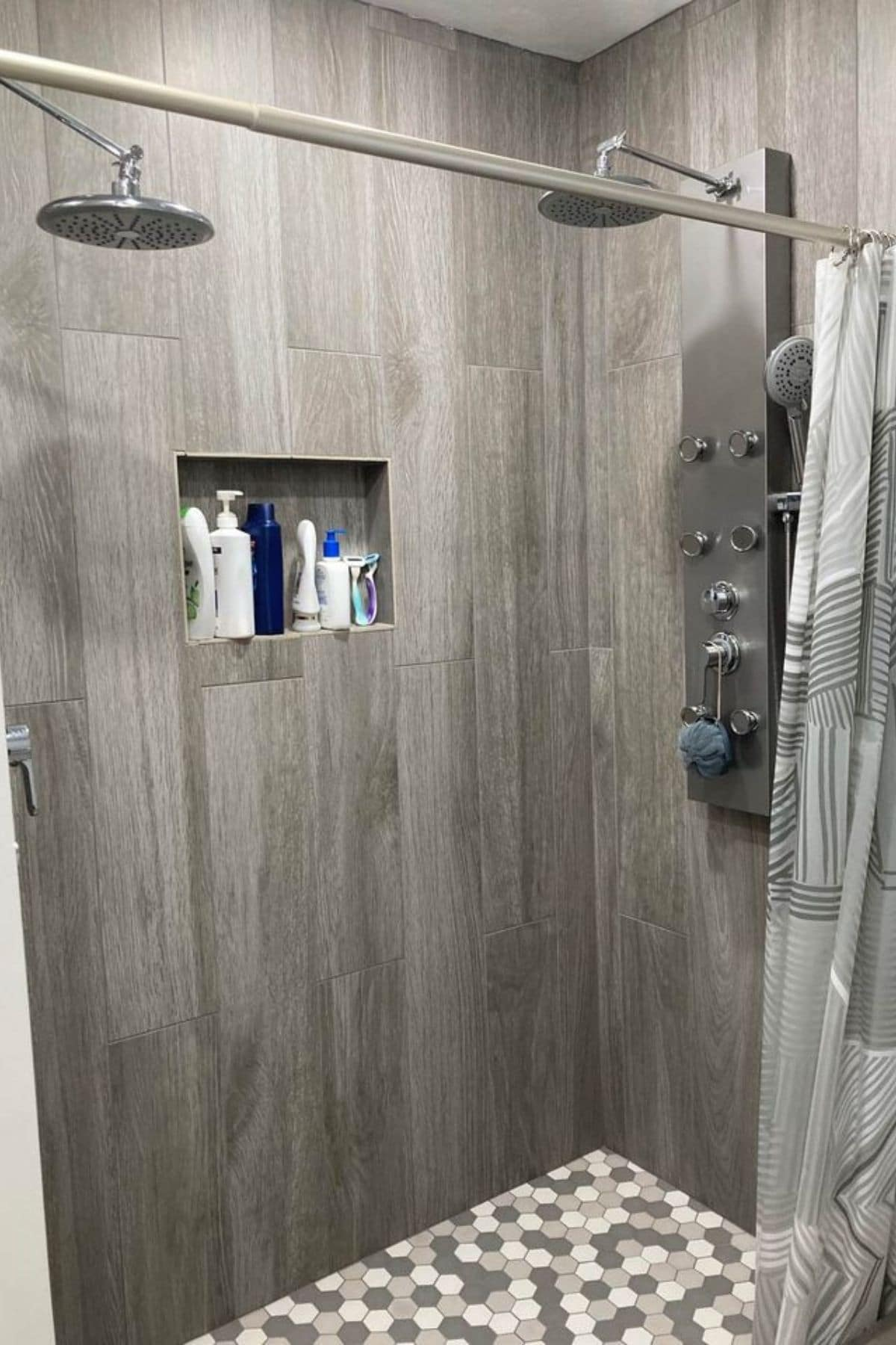 Gray tile wall in shower