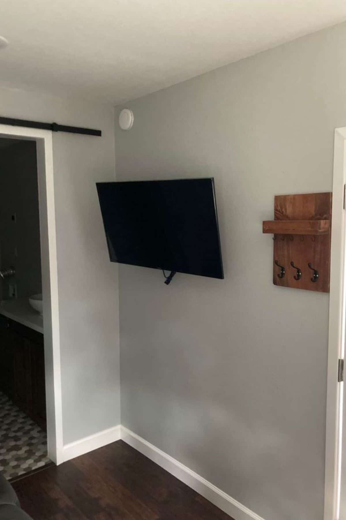 TV mounted on wall