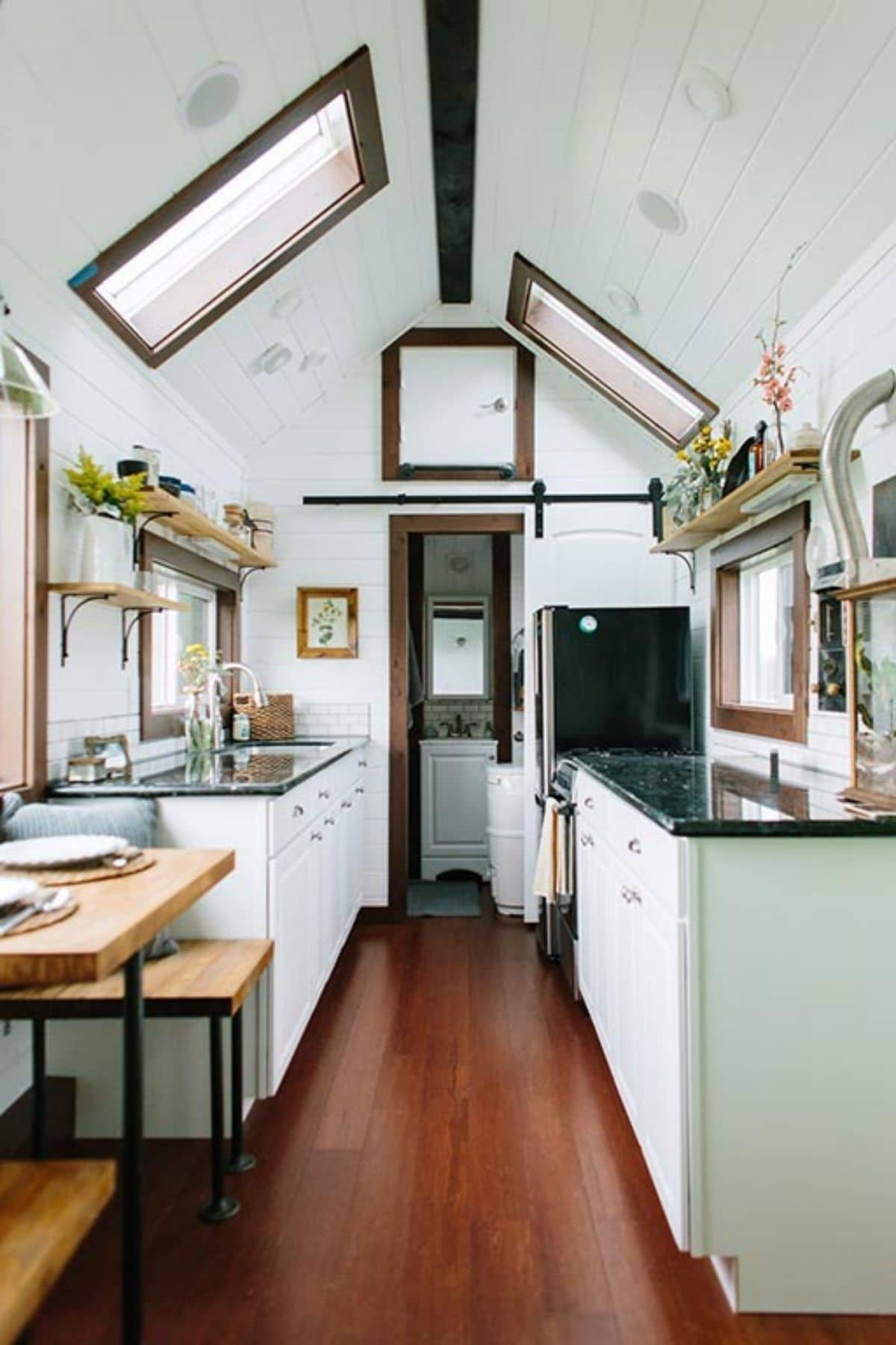 View into bathroom of tiny house