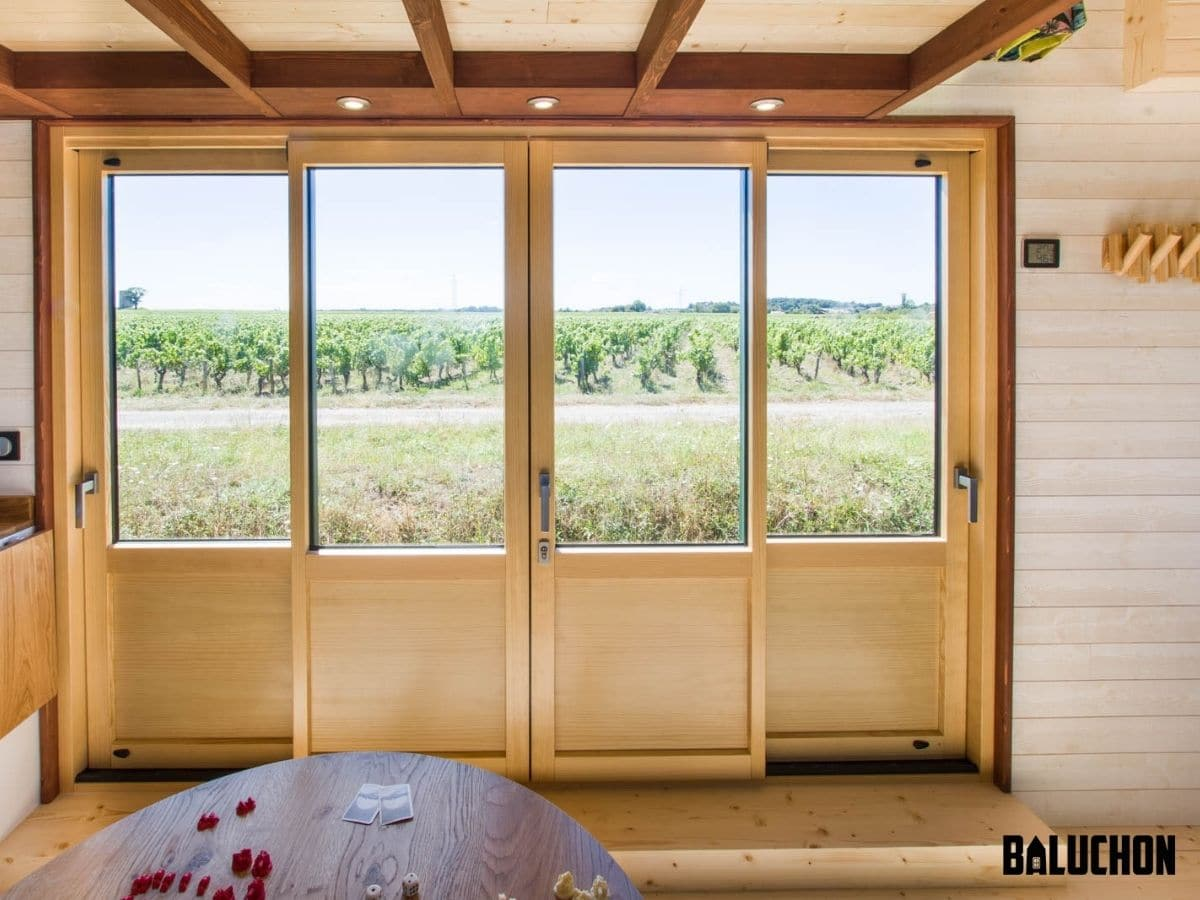 Inside of double French doors on side of tiny home