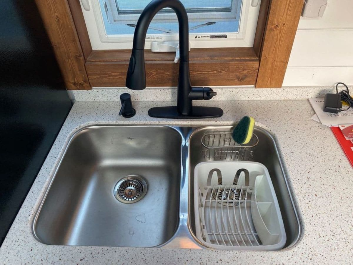 stainless steel two sink with black sink