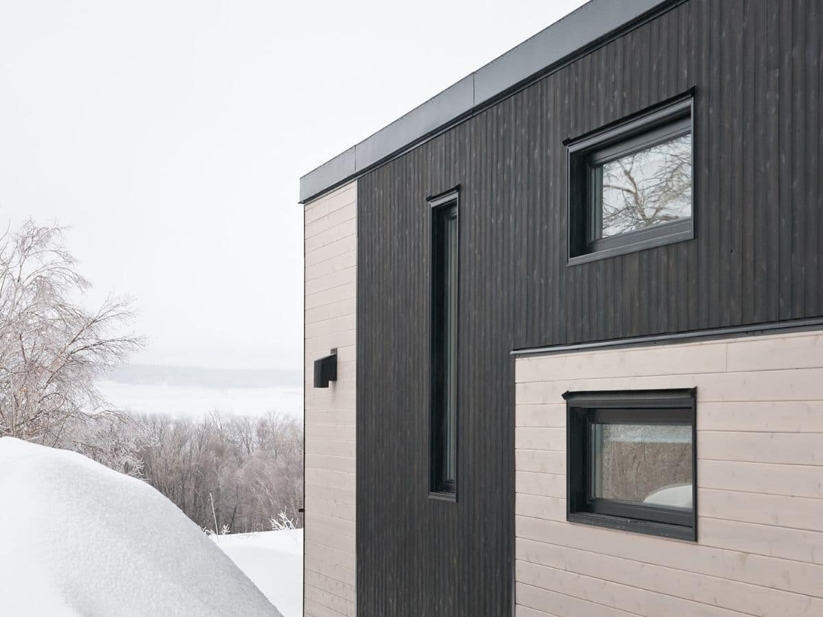 back of tiny house with black siding accents