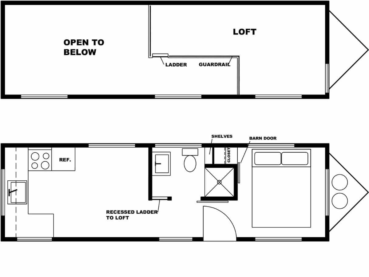 black and white blueprint of tiny home